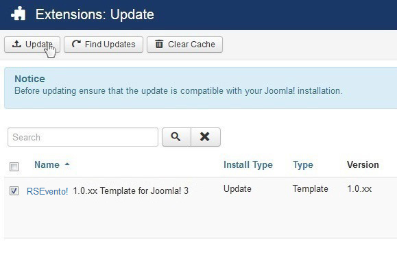Select RSEvento! 1.0.xx Template for Joomla! 3 and Update