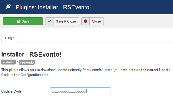 Insert your license code to Installer Plugin RSEvento!