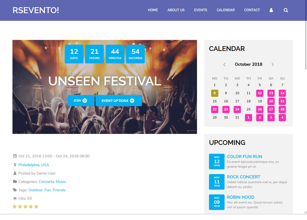 RSEvento! - Screenshot Front End 6