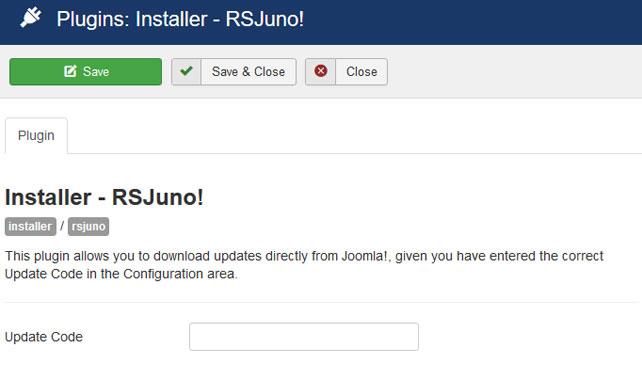 Insert your license code to Installer Plugin RSJuno!