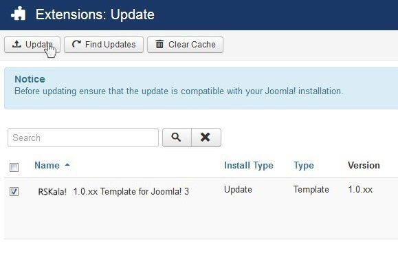 Select RSKala! 1.0.xx Template for Joomla! 3 and Update