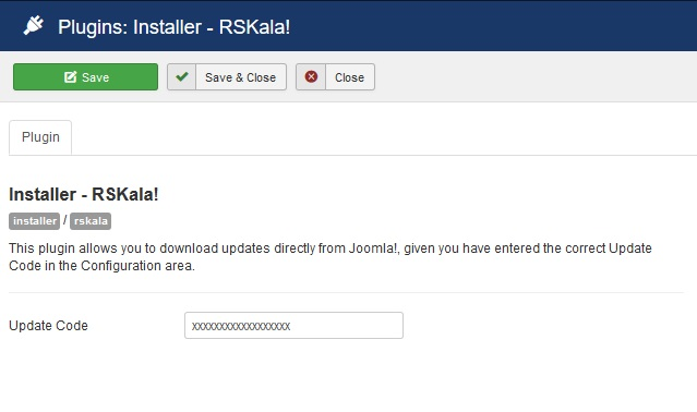 Insert your license code to Installer Plugin RSKala!
