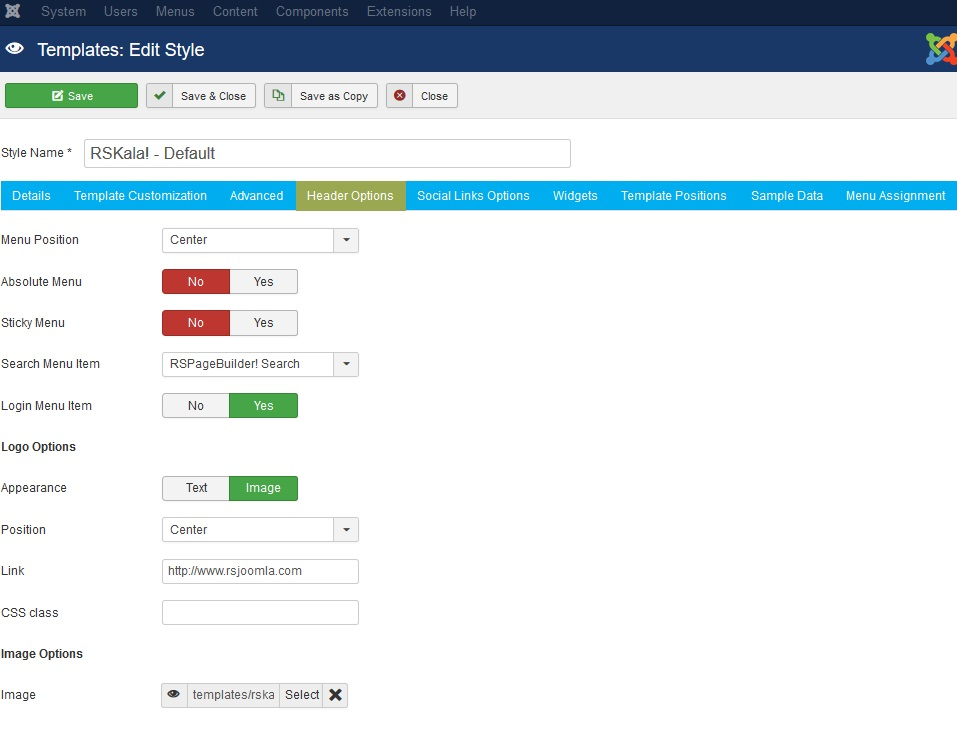 RSKala! Joomla! 3.x template Header Options Tab preview