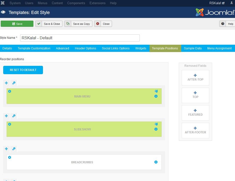 RSKala! Joomla! 3.x template Template Positions Tab preview