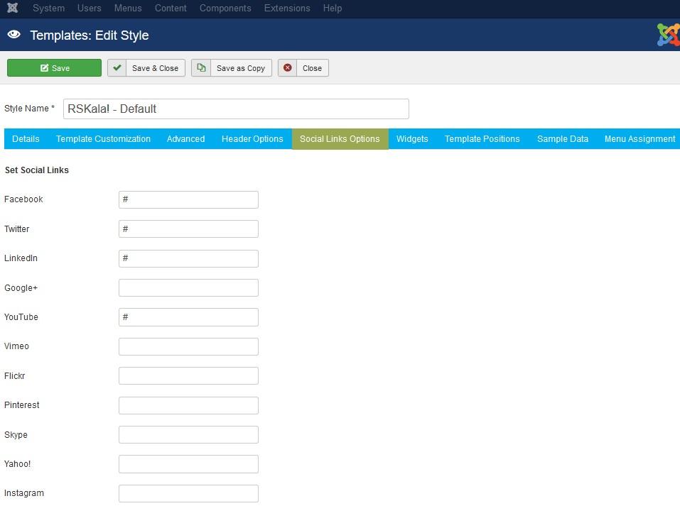 RSKala! Joomla! 3.x template Social Links Options Tab preview