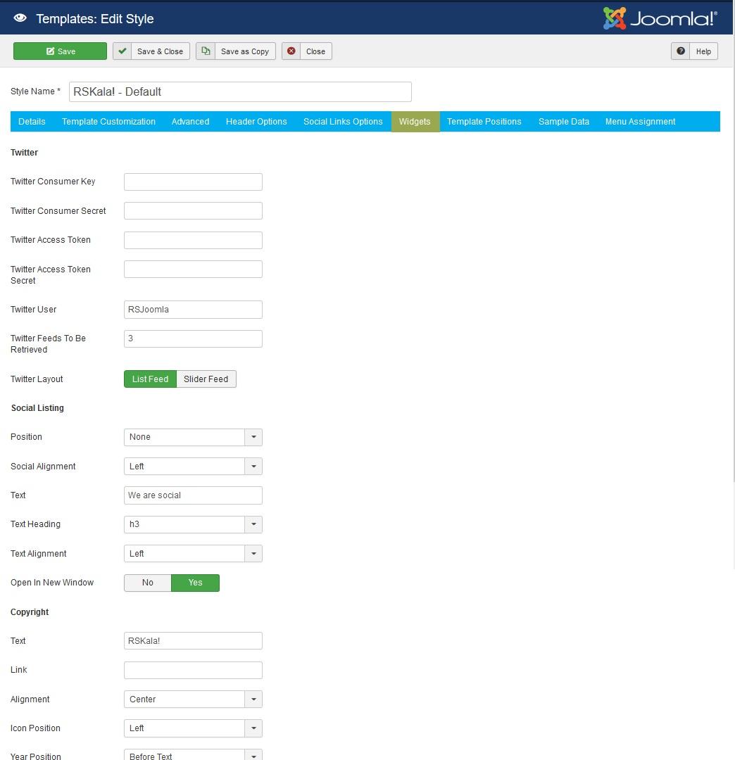 RSKala! Joomla! 3.x template Widgets Tab preview