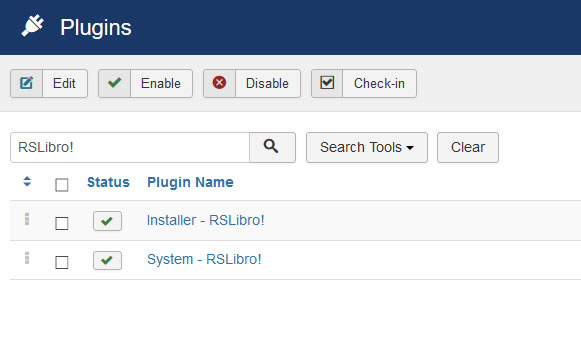 Go to Installer Plugin RSLibro!