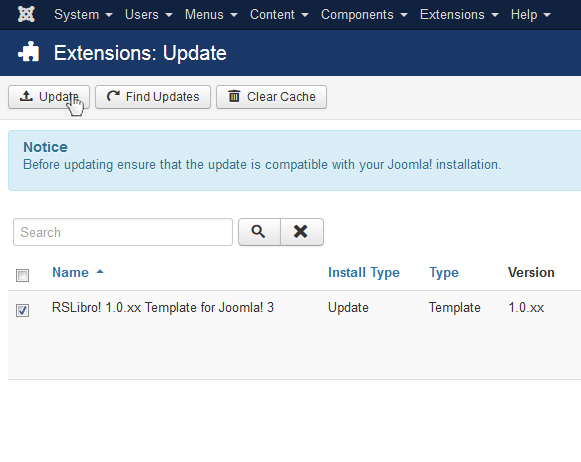 Select RSLibro! 1.0.xx Template for Joomla! 3 and Update