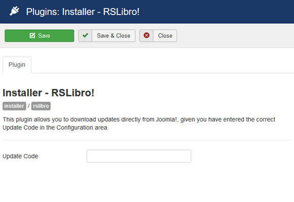 Insert your license code to Installer Plugin RSLibro!