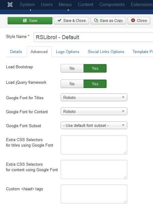 RSLibro! Joomla! 3.x template Advanced Tab preview