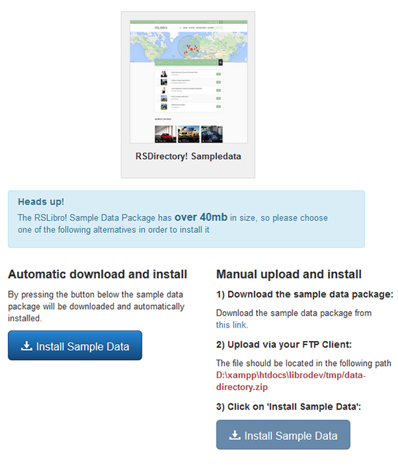 RSLibro! Joomla! 3.x template Sample Data Tab preview