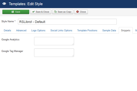 RSLibro! Joomla! 3.x template Snippets Tab preview