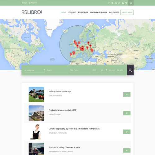 RSLibro! - Responsive Joomla! Template for Business Directory