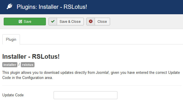 Insert your license code to Installer Plugin RSLotus!