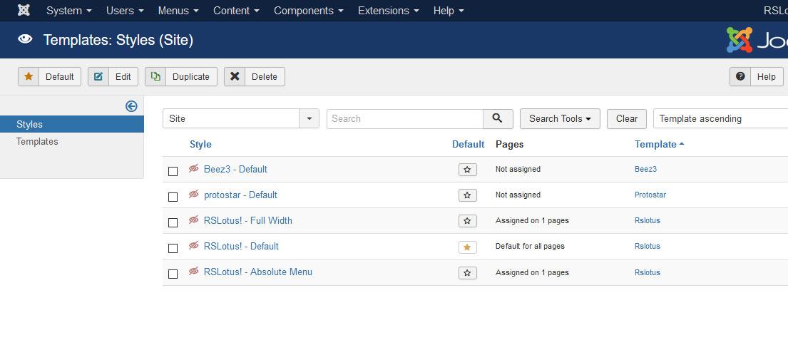 Installing RSLotus! 3.x Joomla! template Step 5