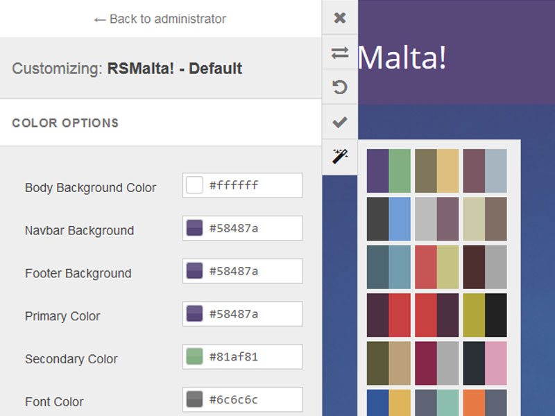 RSMalta! Front-end Customizer