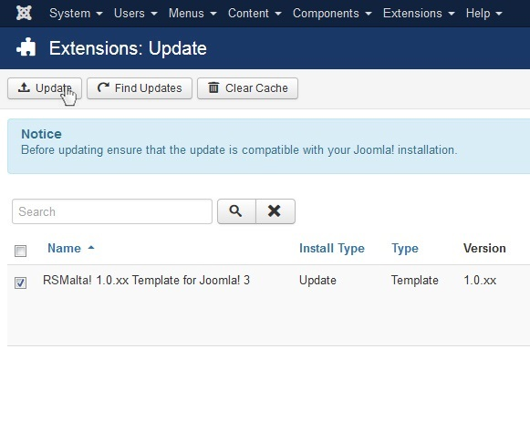 Select RSMalta! 1.0.xx Template for Joomla! 3 and Update