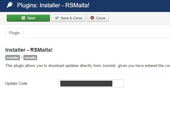 Insert your license code to Installer Plugin RSMalta!
