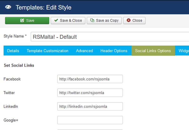 RSMalta! Joomla! 3.x template Social Links Options Tab preview