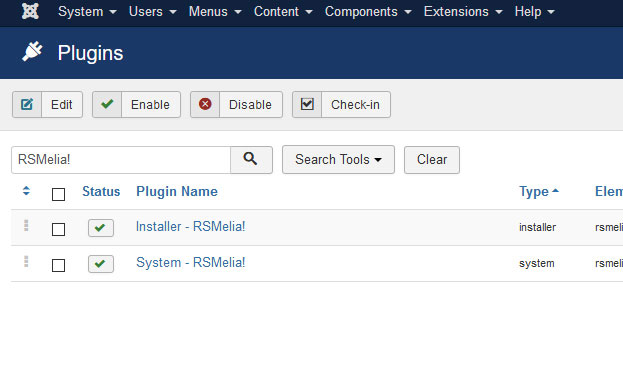 Go to Installer Plugin RSMelia!
