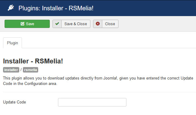 Insert your license code to Installer Plugin RSMelia!