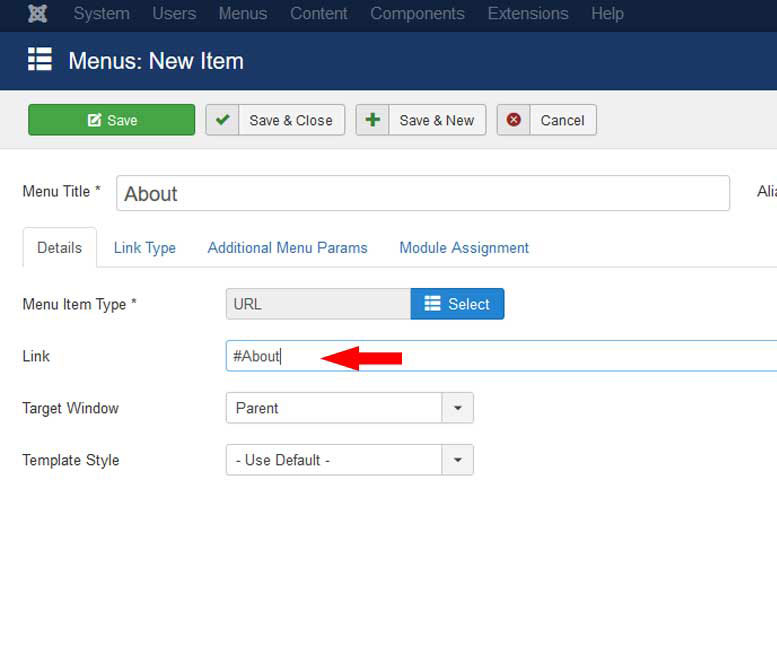 RSMelia! - How to create One Page Website - Add anchors