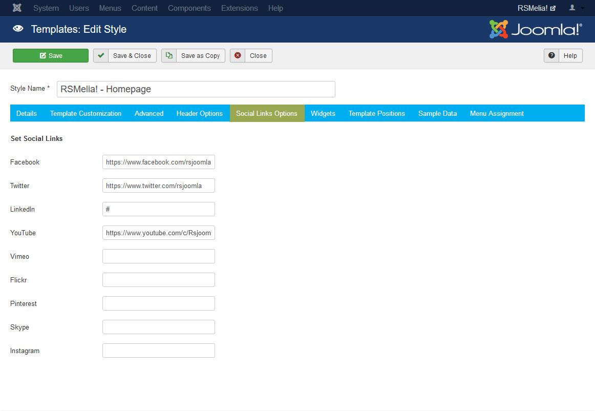 RSMelia! Joomla! 3.x template Social Links Options Tab preview