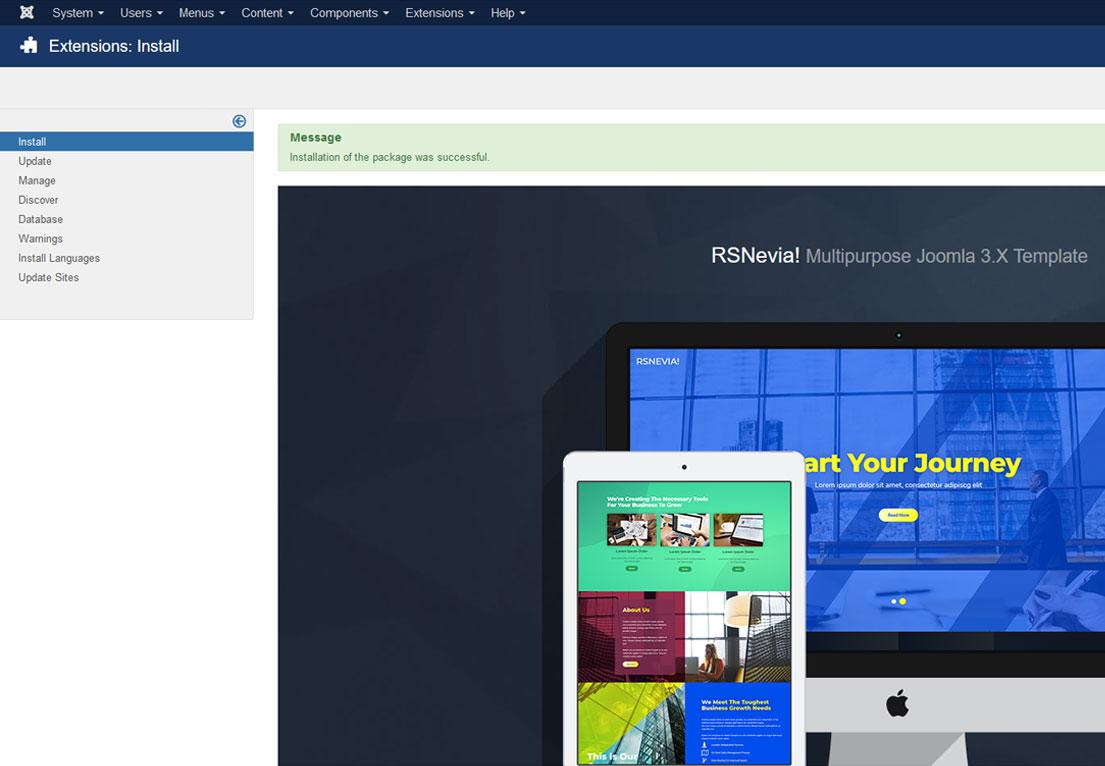 Installing RSNevia! 3.x Joomla! template Step 4