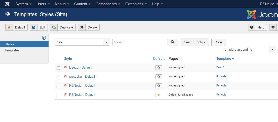 Installing RSNevia! 3.x Joomla! template Step 5