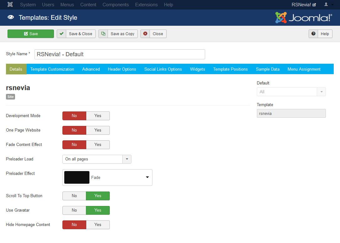 RSNevia! Joomla! 3.x template Details Tab preview