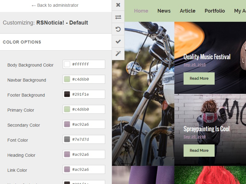 RSNoticia! Front-end Customizer