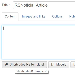 Accessing rsnoticia! Shortcodes with other editors installed