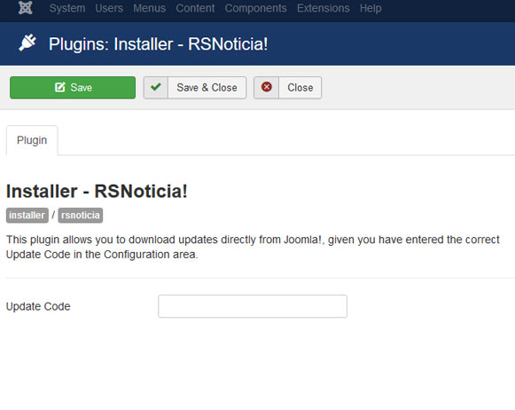 Insert your license code to Installer Plugin RSNoticia!