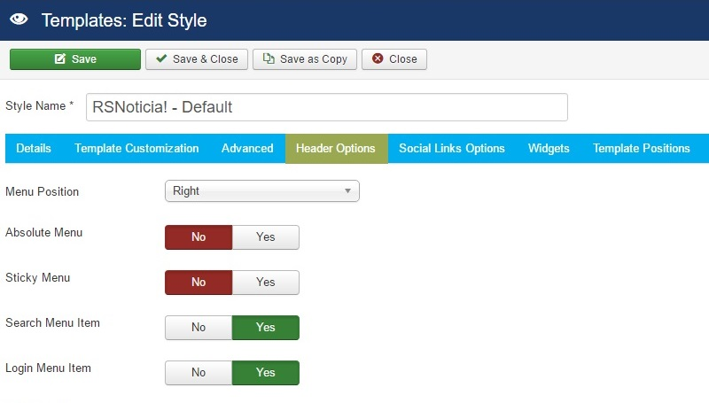 RSNoticia! Joomla! 3.x template Header Options Tab preview