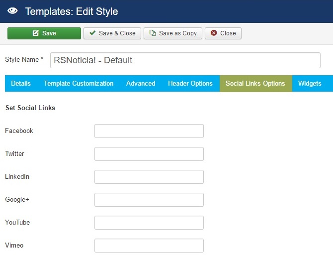 RSNoticia! Joomla! 3.x template Social Links Options Tab preview