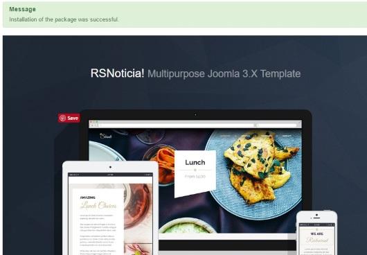 Installing RSNoticia! 3.x Joomla! template Step 4
