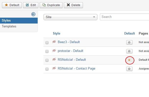 Installing RSNoticia! 3.x Joomla! template Step 5