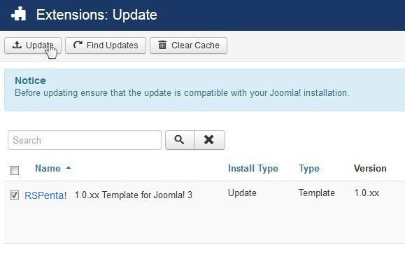 Select RSPenta! 1.0.xx Template for Joomla! 3 and Update