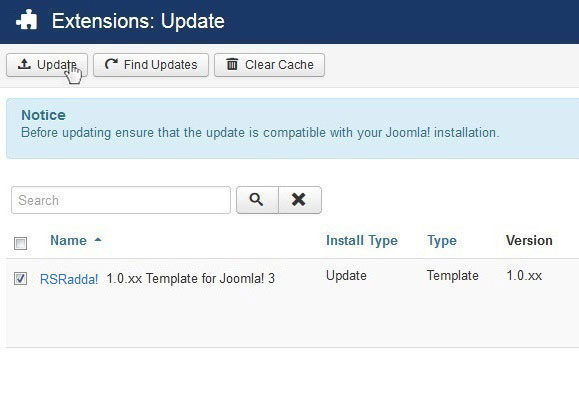 Select RSRadda! 1.0.xx Template for Joomla! 3 and Update