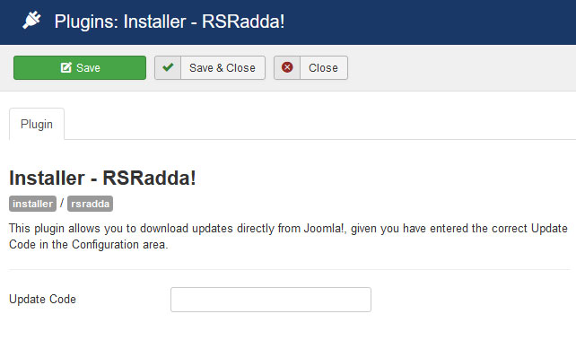 Insert your license code to Installer Plugin RSRadda!