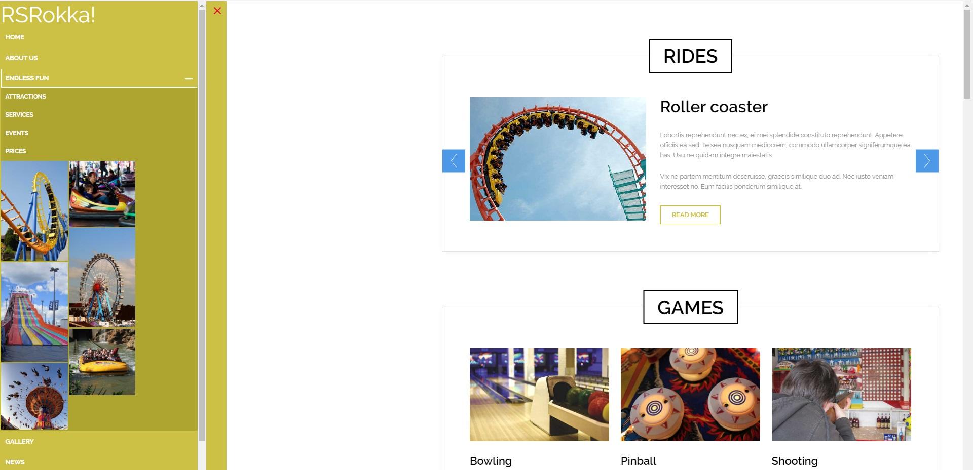 RSRokka! - mega menu frontend example