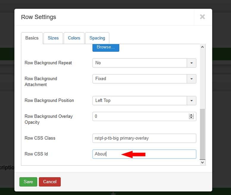 RSRokka! - How to create One Page Website - Row CSS Id