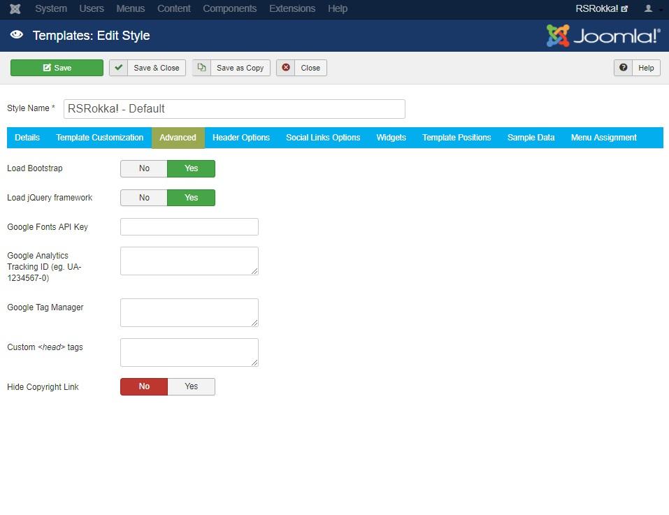 RSRokka! Joomla! 3.x template Logo Options Tab preview