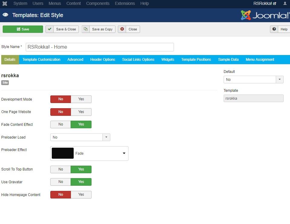 RSRokka! Joomla! 3.x template Details Tab preview