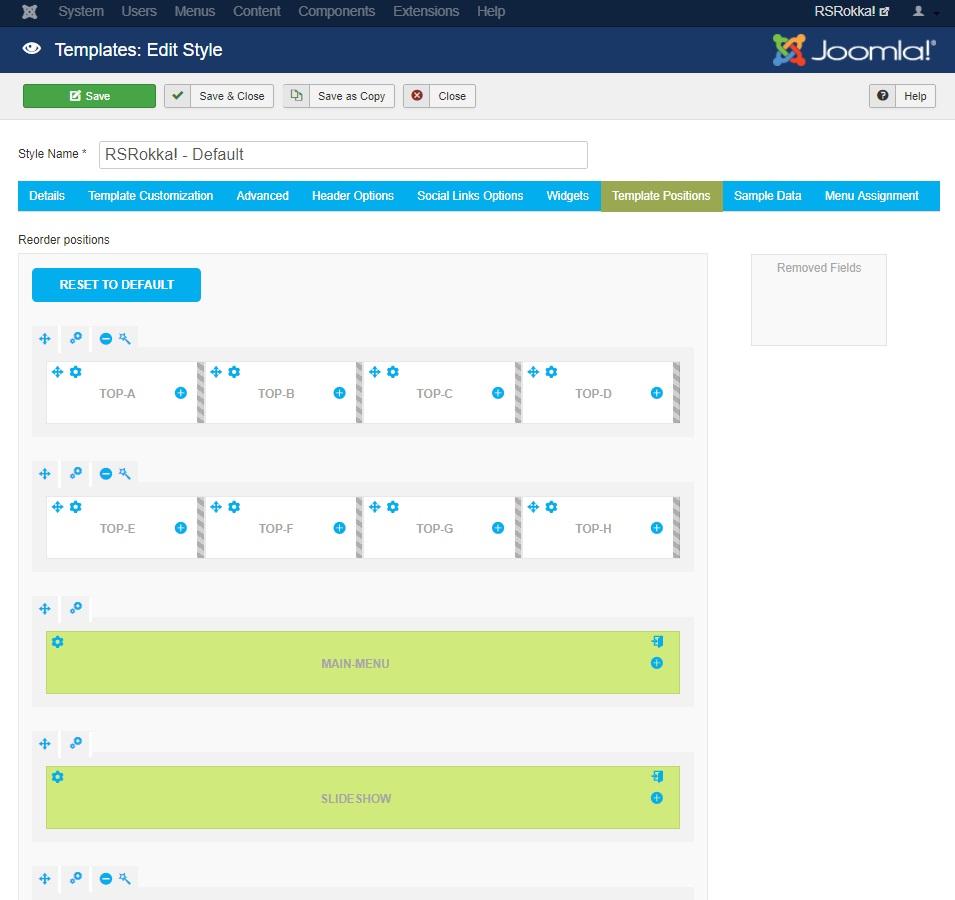 RSRokka! Joomla! 3.x template Template Positions Tab preview