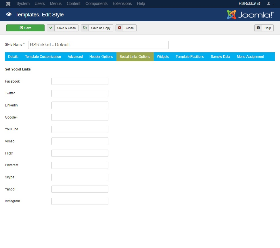 RSRokka! Joomla! 3.x template Social Links Options Tab preview