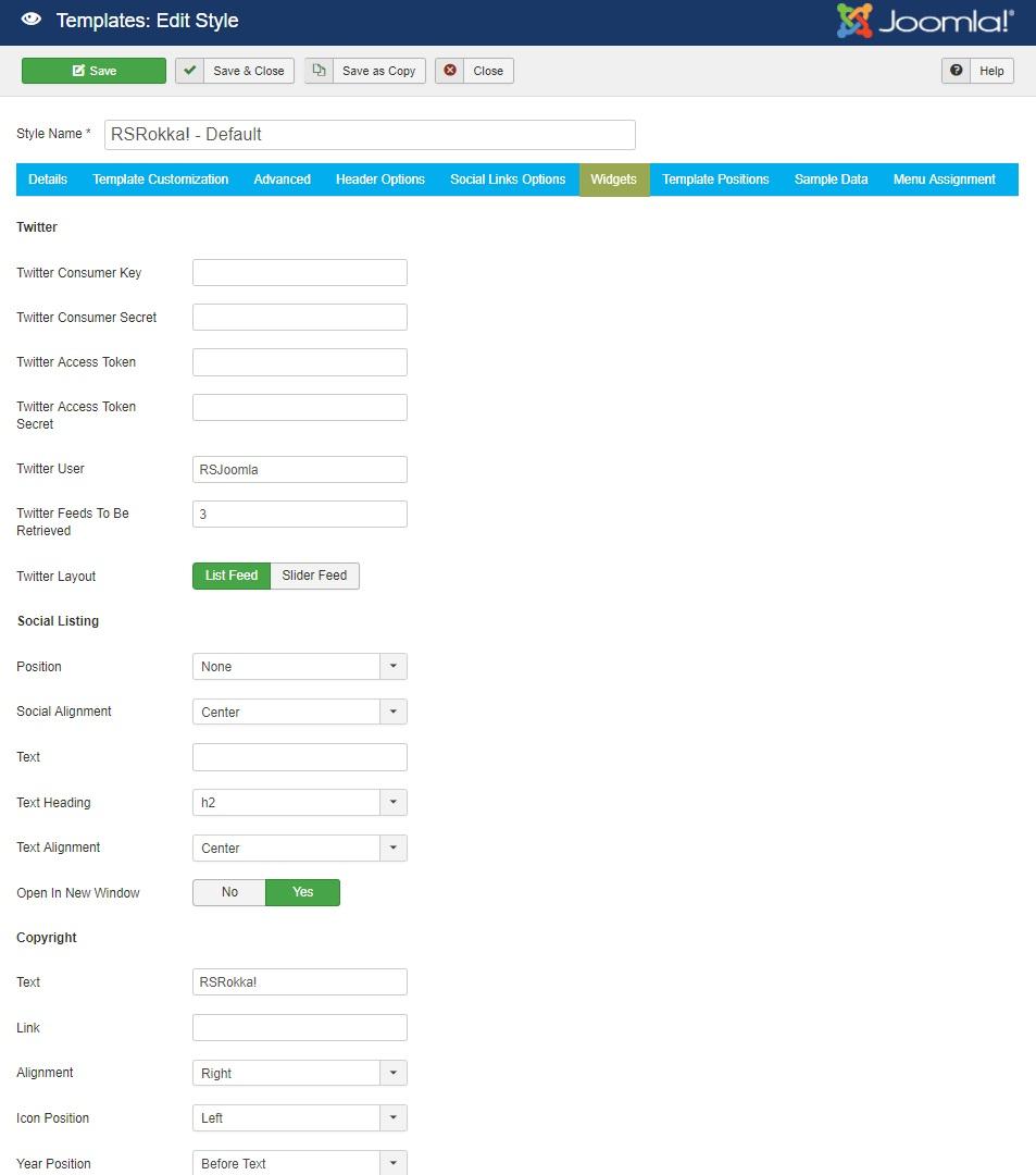 RSRokka! Joomla! 3.x template Widgets Tab preview