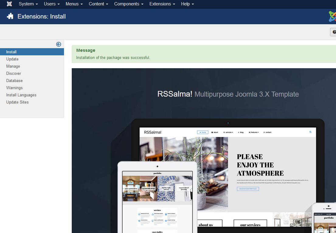 Installing RSSalma! 3.x Joomla! template Step 4