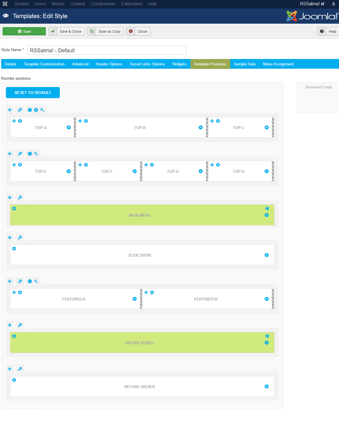 RSSalma! Joomla! 3.x template Template Positions Tab preview