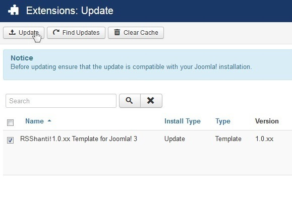 Select RSShanti! 1.0.xx Template for Joomla! 3 and Update
